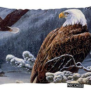 Throw Pillow Cover Bald Eagle Stand Snow Branch De